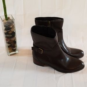 Marc Fisher dark brown heeled booties